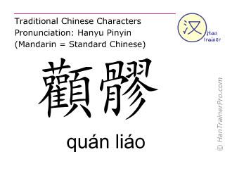 Chinesische Schriftzeichen  ( quan liao / quán liáo ) mit Aussprache (Deutsche Bedeutung: Dünndarm 18 )