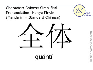 Chinese characters  ( quanti / quántĭ ) with pronunciation (English translation: total )