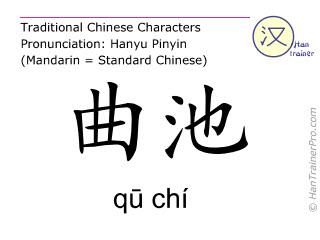 Caractère chinois  ( qu chi / qū chí ) avec prononciation (traduction française: gros intestin 11 )