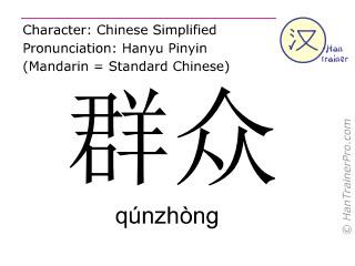 汉字  ( qunzhong / qúnzhòng ) 包括发音 (英文翻译: people )