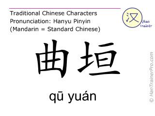 Chinesische Schriftzeichen  ( qu yuan / qū yuán ) mit Aussprache (Deutsche Bedeutung: Dünndarm 13 )