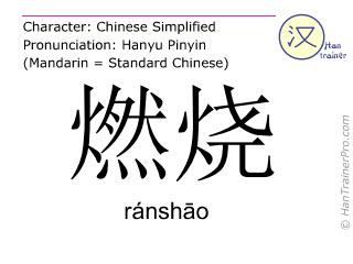汉字  ( ranshao / ránsh&#257o ) 包括发音 (英文翻译: to kindle )
