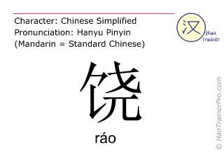 Chinesische Schriftzeichen  ( rao / ráo ) mit Aussprache (Deutsche Bedeutung: begnadigen )