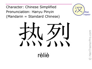 Chinese characters  ( relie / rèliè ) with pronunciation (English translation: warm )