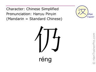 Caracteres chinos  ( reng / réng ) con pronunciación (traducción española: todavía )