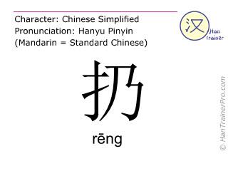 汉字  ( reng / r&#275ng ) 包括发音 (英文翻译: to throw )