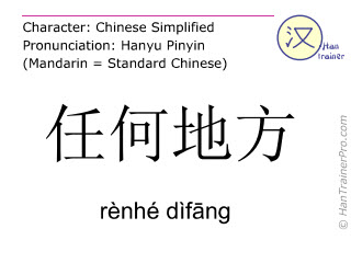 Chinese characters  ( renhe difang / rènhé dìfāng ) with pronunciation (English translation: everywhere )