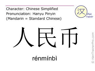 Chinesische Schriftzeichen  ( renminbi / rénmínbì ) mit Aussprache (Deutsche Bedeutung: Renminbi )