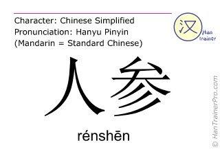 Caractère chinois  ( renshen / rénshēn ) avec prononciation (traduction française: ginseng )