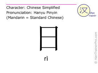Chinese characters  ( ri / rì ) with pronunciation (English translation: day )
