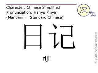 汉字  ( riji / rìjì ) 包括发音 (英文翻译: diary )