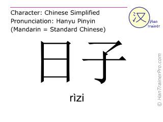 汉字  ( rizi / rìzi ) 包括发音 (英文翻译: date )