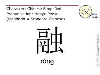 Chinese characters  ( rong / róng ) with pronunciation (English translation: to melt )