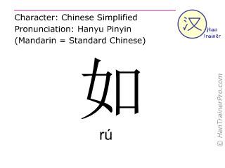 Chinese characters  ( ru / rú ) with pronunciation (English translation: like )