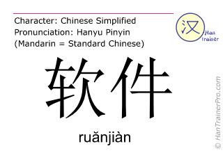 Caractère chinois  ( ruanjian / ruănjiàn ) avec prononciation (traduction française: logiciel )