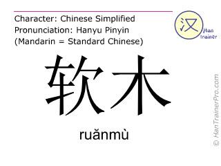 Caractère chinois  ( ruanmu / ruănmù ) avec prononciation (traduction française: liège )