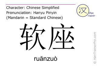 汉字  ( ruanzuo / ruănzuò ) 包括发音 (英文翻译: soft seat )