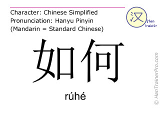 Chinese characters  ( ruhe / rúhé ) with pronunciation (English translation: how )