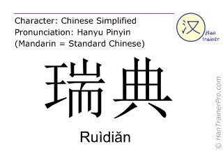 汉字  ( Ruidian / Ruìdiăn ) 包括发音 (英文翻译: Sweden )