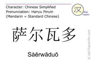 Chinesische Schriftzeichen  ( Saerwaduo / Sàĕrwăduō ) mit Aussprache (Deutsche Bedeutung: El Salvador )