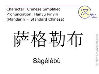 汉字  ( Sagelebu / Sàgélèbù ) 包括发音 (英文翻译: Zagreb )