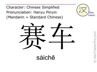 Caracteres chinos  ( saiche / sàichē ) con pronunciación (traducción española: carrera )