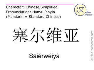 汉字  ( Saierweiya / S&#257i&#277rwéiyà ) 包括发音 (英文翻译: Serbia )