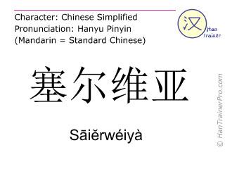 Chinese characters  ( Saierweiya / Sāiĕrwéiyà ) with pronunciation (English translation: Serbia )