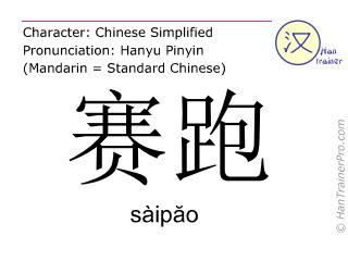 汉字  ( saipao / sàip&#259o ) 包括发音 (英文翻译: running )