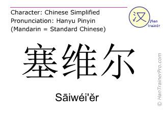 汉字  ( Saiwei'er / Sāiwéi'ĕr ) 包括发音 (英文翻译: Seville )