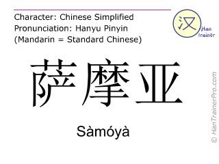 汉字  ( Samoya / Sàmóyà ) 包括发音 (英文翻译: Samoa )