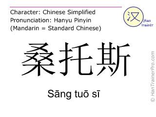 汉字  ( Sang tuo si / Sāng tuō sī ) 包括发音 (英文翻译: Santos )