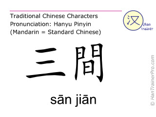 Chinese characters  ( san jian / sān jiān ) with pronunciation (English translation: Large Intestine 3 )