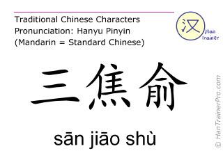 Chinese characters  ( san jiao shu / sān jiāo shù ) with pronunciation (English translation: Bladder 22 )