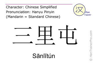 Caractère chinois  ( Sanlitun / Sānlĭtún ) avec prononciation (traduction française: Sanlitun )