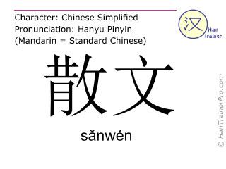 汉字  ( sanwen / sănwén ) 包括发音 (英文翻译: prose )
