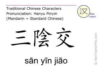 Chinesische Schriftzeichen  ( san yin jiao / sān yīn jiāo ) mit Aussprache (Deutsche Bedeutung: Milz 6 )