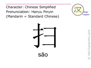 Chinese characters  ( sao / săo ) with pronunciation (English translation: to sweep )