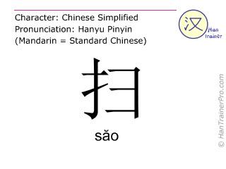 汉字  ( sao / s&#259o ) 包括发音 (英文翻译: to sweep )