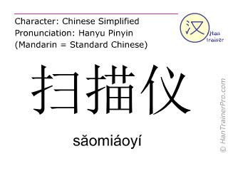 Caracteres chinos  ( saomiaoyi / săomiáoyí ) con pronunciación (traducción española: escáner )