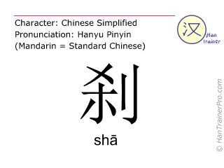 汉字  ( sha / sh&#257 ) 包括发音 (英文翻译: to stop )