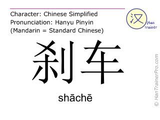 Chinesische Schriftzeichen  ( shache / shāchē ) mit Aussprache (Deutsche Bedeutung: Bremse )
