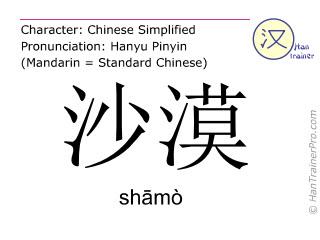 汉字  ( shamo / sh&#257mò ) 包括发音 (英文翻译: desert )