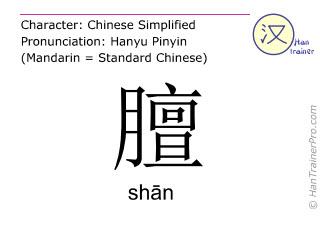 汉字  ( shan / sh&#257n ) 包括发音 (英文翻译: smell of mutton )