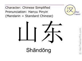 Chinesische Schriftzeichen  ( Shandong / Shāndōng ) mit Aussprache (Deutsche Bedeutung: Shandong )