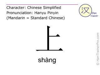 Chinese characters  ( shang / shàng ) with pronunciation (English translation: above )