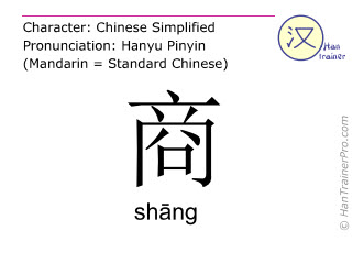 Chinese characters  ( shang / shāng ) with pronunciation (English translation: <m>business</m> )