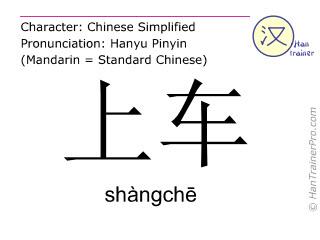 Chinesische Schriftzeichen  ( shangche / shàngchē ) mit Aussprache (Deutsche Bedeutung: einsteigen )