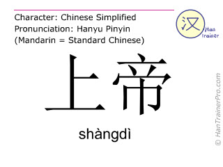 Chinese characters  ( shangdi / shàngdì ) with pronunciation (English translation: God )