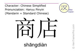 汉字  ( shangdian / sh&#257ngdiàn ) 包括发音 (英文翻译: shop )